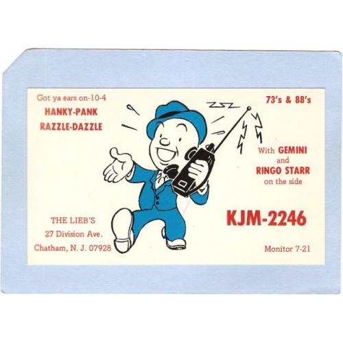 NJ Chatham QSL Card KJM-2246 The Liebs 27 Division Ave nj_box4~2036