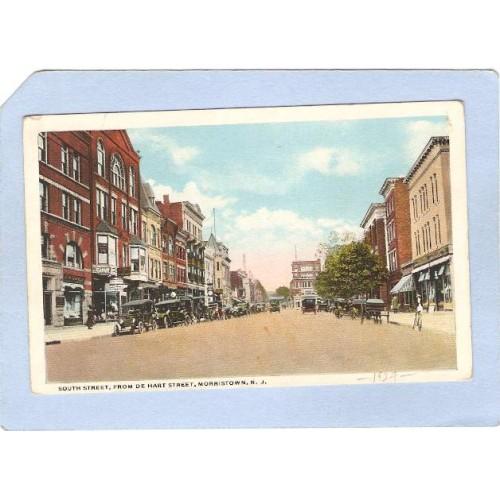NJ Morristown South St From De Hart St Street Scene w/Old Cars & Horses & ~2141
