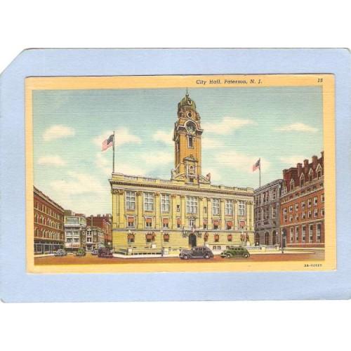 NJ Paterson City Hall Street Scene Intersection w/Old Cars nj_box5~2475