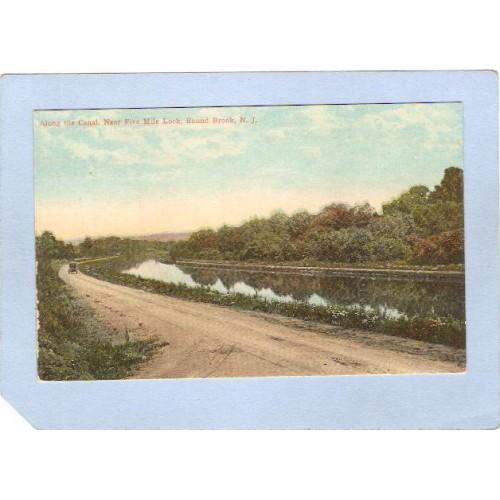 NJ Bound Brook Along The Canal Near Five Mile Lock w/Old Car nj_box5~2556