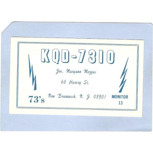 NJ New Brunswick QSL Card KQD-7310 Joe Maryann Mozgai 60 Harvey St New Bru~2624