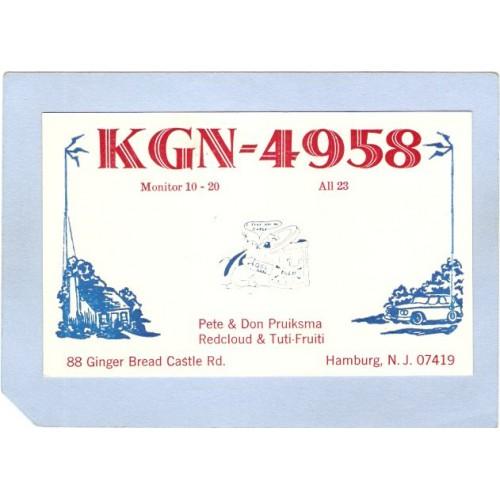 NJ Hamburg QSL Card KGN-4958 Pete & Don Pruiksma 88 Ginger Bread Castle Rd~2637