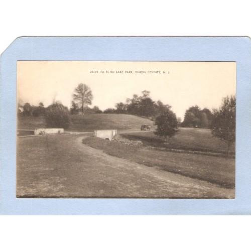 NJ Mountainside Drive To Echo Lake Park Street Scene w/Old Car nj_box6~2675