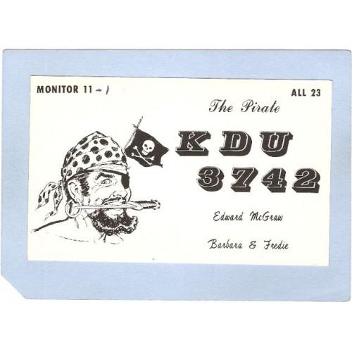 NJ Union Beach QSL Card KDU 3742 Edward McGraw 710 Morningside Ave Union B~2696