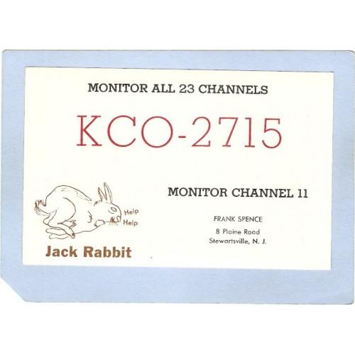 NJ Stewartsville QSL Card KCO-2715 Frank Spence 8 Plaine Rd nj_box6~2818