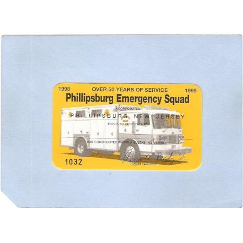 NJ Phillipsburg Membership Card for Phillipsburg Emergency Squad For 1999 ~2928