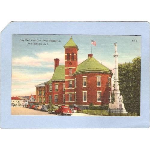 NJ Phillipsburg City Hall & Civil War Monument Street Scene w/Old Cars ~2977