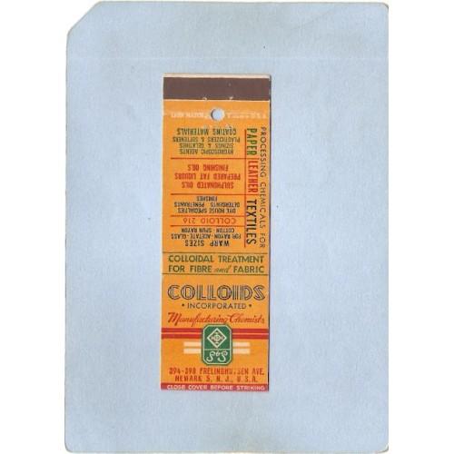 NJ Newark Matchcover Colloids Inc Manufacturing Chemists 394-398 Frelinghu~3248