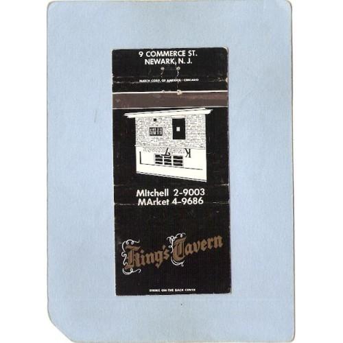 NJ Newark Matchcover King's Tavern 9 Commerce St nj_box2~3255