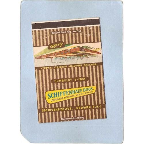 NJ Newark Royal Flash Matchcover Schiffenhaus Bros Corrugated Fibreboard S~3259