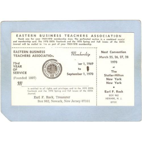 NJ Newark Membership Card Eastern Business Teachers Association From Sept ~3272