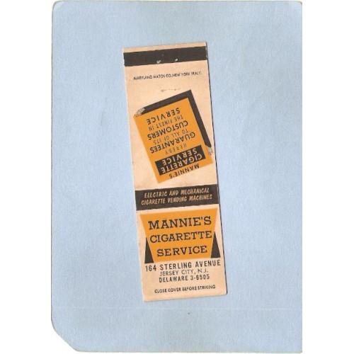 NJ Jersey City Matchcover Mannies Cigarette Service 164 Sterling Ave nj~3307