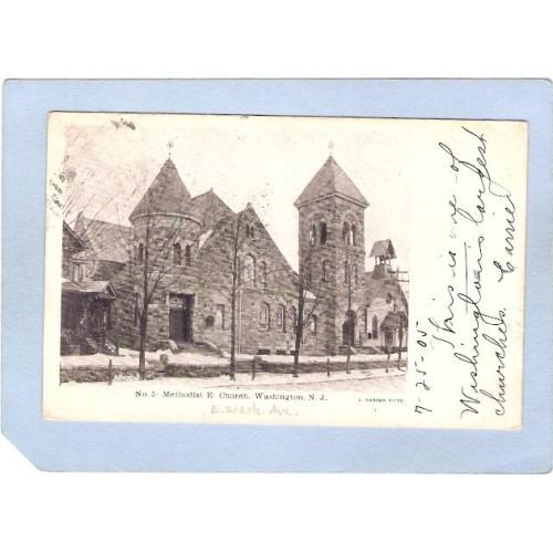 NJ Washington Methodist Church Street Scene w/Snow nj_box6~3015