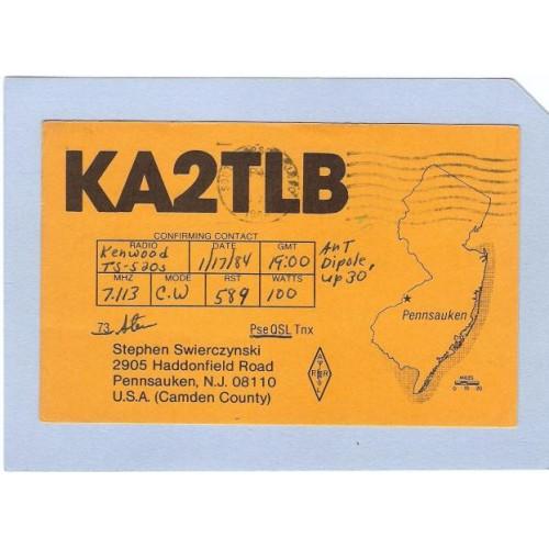 NJ Pennsauken QSL Card KA2TLB Stephen Swiercznski 2905 HADDONFIELD Road Pe~387