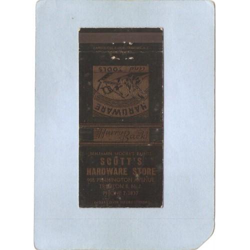 NJ Trenton Matchcover Scott's Hardware Store 905 Pennington Ave  nj_box~3358