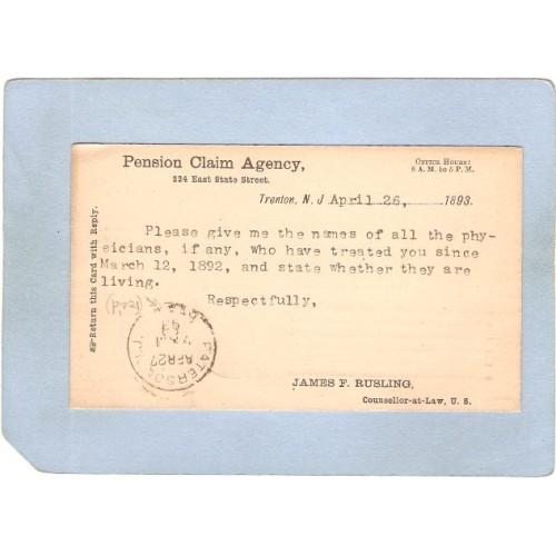 NJ Trenton Penny Post Card April 26 1893 Pension Claim Agency 224 East Sta~3365