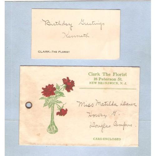 NJ New Brunswick Card & Envelope Clark The Florist 26 Paterson St For Miss~3390