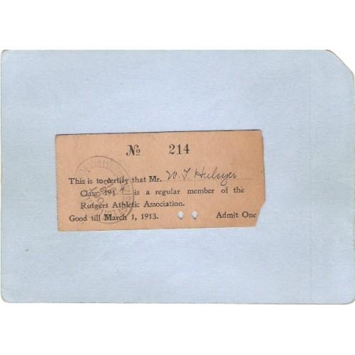 NJ New Brunswick Ticket Rutgers Athletic Association For Mr W L Hulsyer Cl~3400