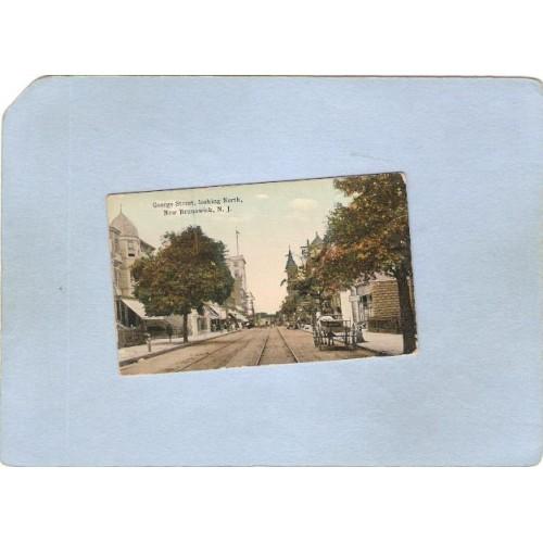 NJ New Brunswick Mini Post Card Street Scene George St Looking North w/Tro~3625