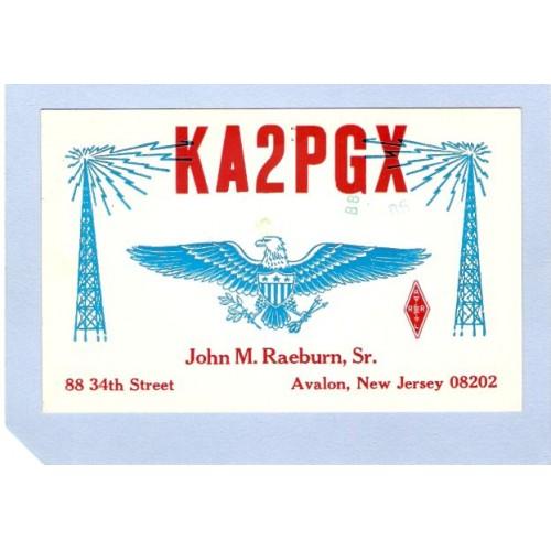NJ Avalon QSL Card KA2PGX John M Raeburn Sr 88 34th St Avalon NJ nj_box~476