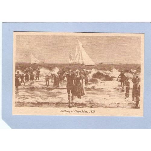 NJ Cape May Reproduction Card Bathing At Cape May 1873 nj_box2~507