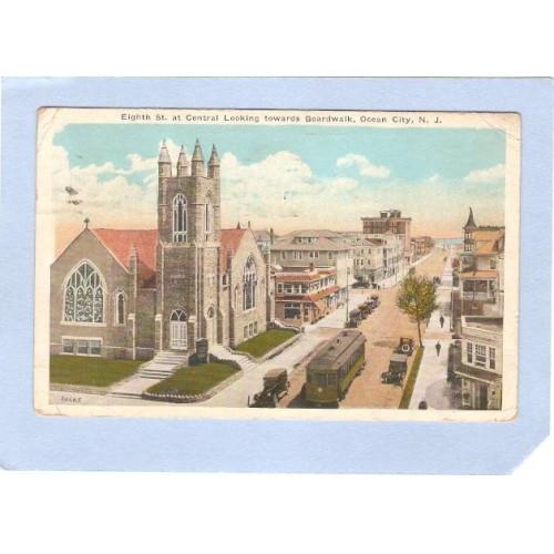 NJ Ocean City Eighth St At Central Looking Towards Boardwalk nj_box2~628