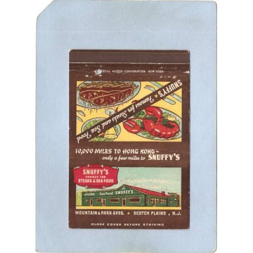 NJ Scotch Plains Royal Flash Matchcover Snuffy's Steaks & Sea Food Mountai~3551