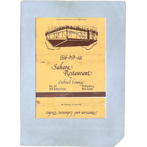 NJ Phillipsburg Matchcover Sahara Restaurant Rt 22 Still Valley Circle w/S~3575