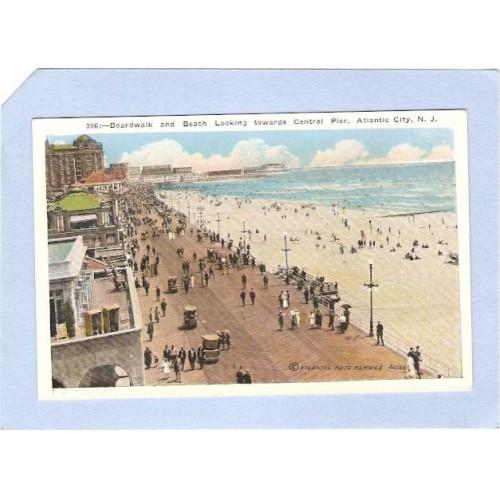 NJ Atlantic City Boardwalk & Beach Looking Towards Central Pier nj_box1~75