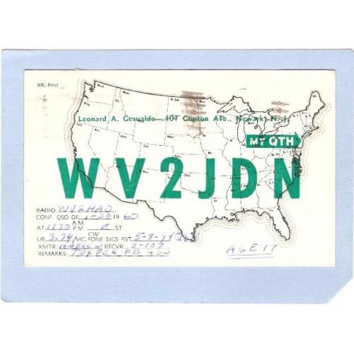 NJ Newark QSL Card WV2JDN Leonard A Gesualdo 407 Clinto Ave Newark NJ n~831