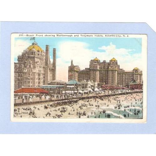 NJ Atlantic City Beach Front Showing Dennis Marlborough & Traymore Hotels ~92