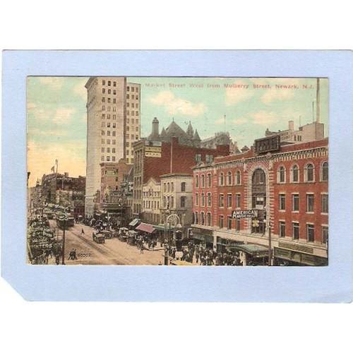 NJ Newark Market St West From Mulberry St Street scene Horses & wagons & T~941
