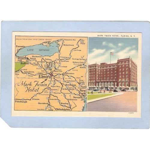 New York Elmira Mark Twain Hotel 1/2 Half Card Street Scene Intersection w~1062