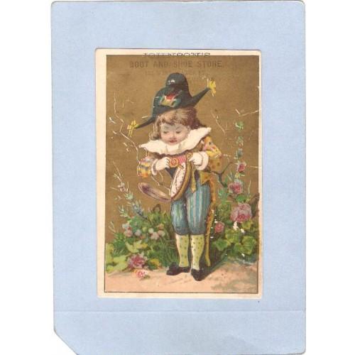 New York Elmira Victorian Trade Card Advertisement On Front Johnsons Boot ~1106