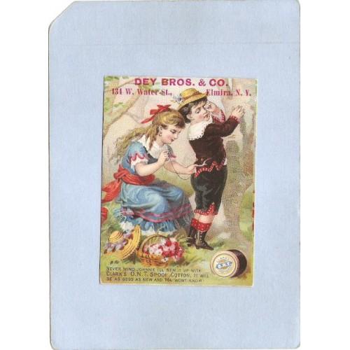 New York Elmira Victorian Trade Card Advertisement On Front Dey Bros & Co ~1107