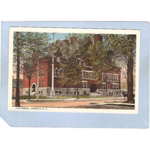 New York Norwich High School Tree Lined Street Scene w/Horse & Wagon ny_bo~1128