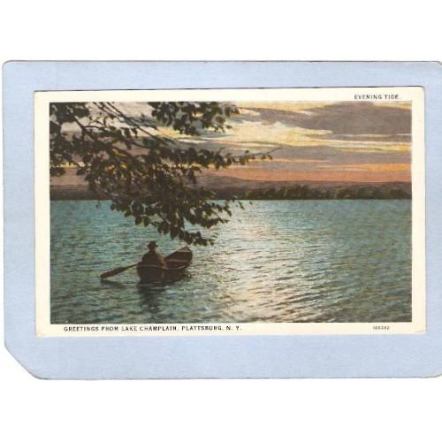 New York Plattsburg Greetings From Lake Champlain Evening Tide ny_box3~1160