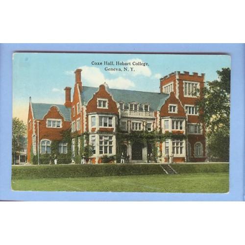 New York Geneva Coxe Hall Hobart College View Large Old Brick Building ~160