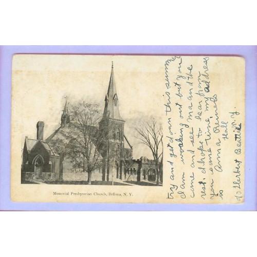 New York Bellona Memorial Presbyterian Church Half View Large Old Stone Ch~283