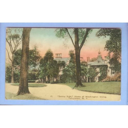 New York Tarrytown Sunny Side Home Of Washington Irving View Up Circular D~307