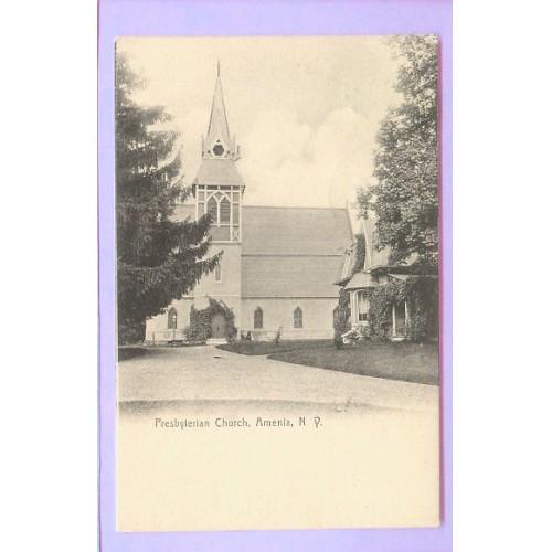 New York Amenia Presbyterian Church Black & White Picture of Small Old Chu~31