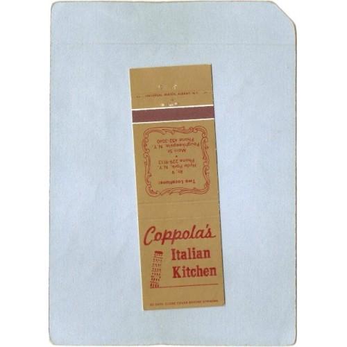 New York Poughkeepsie Matchcover Coppola's Italian Kitchen 2 Locations Mai~2216