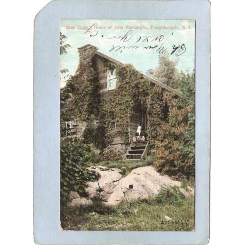 New York Poughkeepsie Slab Sides Home Of John Burroughs Undivided Back ny_~2243