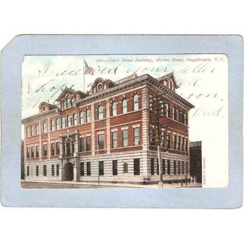 New York Poughkeepsie Court House Building Market St Undivided Back ny_box~2264