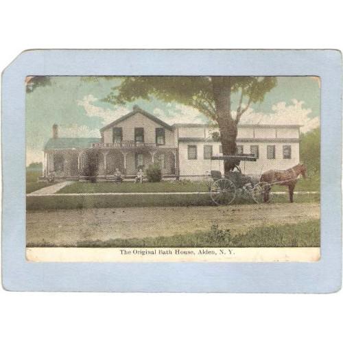 New York Alden The Original Bath House Street Scene w/Horse & Wagon ny_box~2343