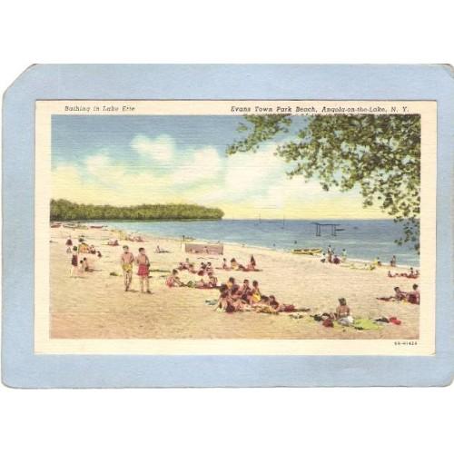 New York Angola-On-The-Beach Bathing In Lake Erie Evans Town Park Beach ny~2355