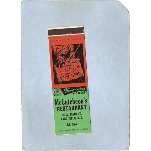 New York Lancaster Matchcover McCutcheon's Restaurant 26 W Main St w/Low P~2411