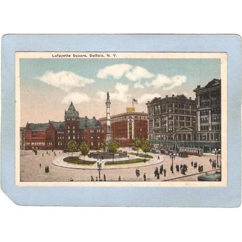 New York Buffalo Lafayette Square Street Scene w/Trolley Car & Old Cars ny~2602