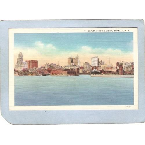 New York Buffalo Skyline From Harbor ny_box4X1~2663