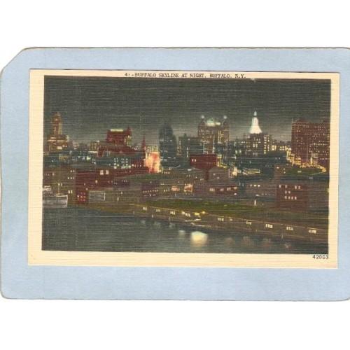 New York Buffalo Buffalo Skyline At Night ny_box4X1~2664